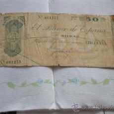 Documentos bancarios: PAGARÉS DE 50 PESETAS DEL UNO DE SEPTIEMBRE DE 1936.. Lote 33130974