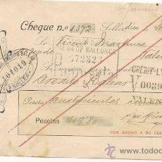Documentos bancarios: CHEQUE ANTIGUO CREDITO BALEAR PALMA MALLORCA CREDIT LIONNAIS. Lote 33770118