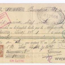 Documentos bancarios: LETRA DE CAMBIO - AÑO 1919 - BANCO DE PRESTAMOS Y DESCUENTOS DE GERONA. Lote 34465341