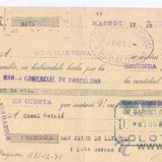 Documentos bancarios: LETRA DE CAMBIO - AÑO 1935 - BANCO COMERCIAL DE BARCELONA (MASNOU). Lote 34465392