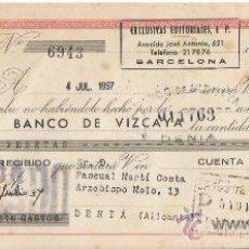 Documentos bancarios: +-+ W286 - LETRA DE CAMBIO 125 PESETAS - EXCLUSIVAS EDITORIALES 1957 - BANCO DE VIZCAYA. Lote 34561304