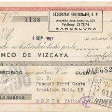 Documentos bancarios: +-+ W285 - LETRA DE CAMBIO 125 PESETAS - EXCLUSIVAS EDITORIALES 1957 - BANCO DE VIZCAYA. Lote 34561368
