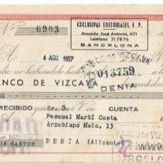 Documentos bancarios: +-+ W284 - LETRA DE CAMBIO 125 PESETAS - EXCLUSIVAS EDITORIALES 1957 - BANCO DE VIZCAYA. Lote 34561482