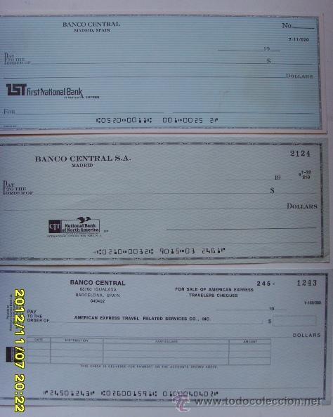 3 CHEQUES EN DOLARES DEL BANCO CENTRAL (Coleccionismo - Documentos - Documentos Bancarios)