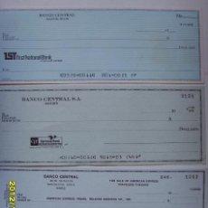 Documentos bancarios: 3 CHEQUES EN DOLARES DEL BANCO CENTRAL. Lote 34663631