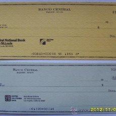 Documentos bancarios: 2 CHEQUES BANCARIOS EN DOLARES DEL BANCO CENTRAL. Lote 34663687