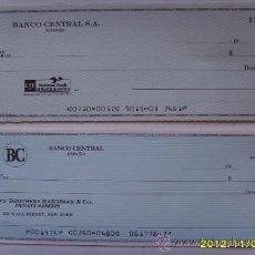 Documentos bancarios: 2 CHEQUES BANCARIOS EN DOLARES DEL BANCO CENTRAL. Lote 34663739
