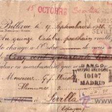 Documentos bancarios: LETRA DE CAMBIO - DOCUMENTO BANCARIO FECHADO EN 1921 - BANCO HISPANO AMERICANO - SEVILLA . Lote 34931827