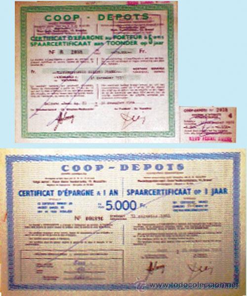 1960 Y 1966.-PAR DE CERTIFICADOS DEPOSITOS DE COOPERATIVAS BELGAS DE 5000 Y 75000 FR. RESPECTIVAMENT (Coleccionismo - Documentos - Documentos Bancarios)