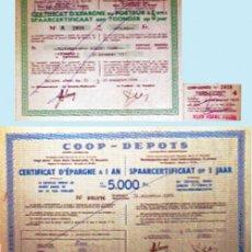 Documentos bancarios: 1960 Y 1966.-PAR DE CERTIFICADOS DEPOSITOS DE COOPERATIVAS BELGAS DE 5000 Y 75000 FR. RESPECTIVAMENT. Lote 35106418