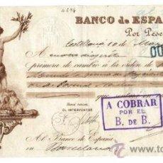 Documentos bancarios: 1897 LETRA DE CAMBIO BANCO DE ESPAÑA POLIZA GIRO 10 CTS SELLO HIJOS FRANCISCO MUNDÓ BARCELONA FISCAL. Lote 35456859