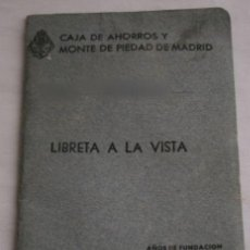 Documentos bancarios: ANTIGUA CARTILLA - CAJA DE AHORROS Y MONTE DE PIEDAD DE MADRID. Lote 35572541