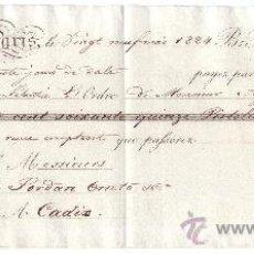 Documentos bancarios: LETRA DE CAMBIO: EXPEDIDA EN PARÍS Y ABONADA EN CÁDIZ (1824). Lote 35713844