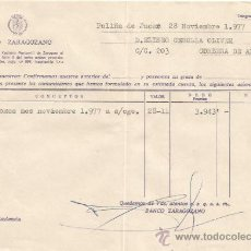 Documentos bancarios: ** PA131 - DOCUMENTO DEL BANCO ZARAGOZANO - POLIÑA DE JUCAR - 1977. Lote 36064200