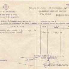 Documentos bancarios: ** PA133 - DOCUMENTO DEL BANCO ZARAGOZANO - POLIÑA DE JUCAR - 1977. Lote 36064244