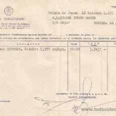 Documentos bancarios: ** PA134 - DOCUMENTO DEL BANCO ZARAGOZANO - POLIÑA DE JUCAR - 1977. Lote 36064273
