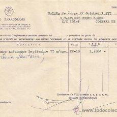 Documentos bancarios: ** PA135 - DOCUMENTO DEL BANCO ZARAGOZANO - POLIÑA DE JUCAR - 1977. Lote 36064300