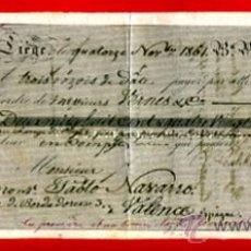 Documentos bancários: LETRA CAMBIO SIGLO XIX, FABRICA DE ARMAS LIEGE, PAGADERA EN VALENCIA 1861 ,ORIGINAL, LC85. Lote 136732541