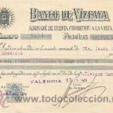 Documentos bancarios: BANCO DE VIZCAYA. 1929. ABONARÉ EMITIDO EN VALENCIA. Lote 37048653