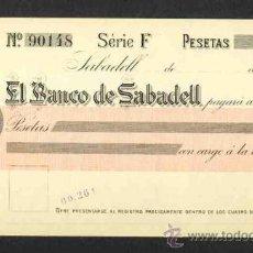 Documentos bancarios: CHEQUE DEL BANC DE SABADELL DE 1915. BANCO. Lote 262347130