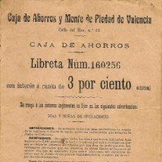 Documentos bancarios: LIBRETA CAJA DE AHORROS VALENCIA 1934 - 1936 - 1938. Lote 37213213