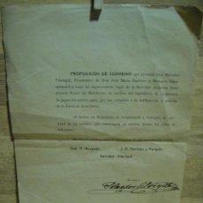 Documentos bancarios: PROPOSICION DE CONVENIO SOBRE LA SUSPENSION DE PAGOS DEL BANCO DE BARCELONA - AÑO 1920. Lote 37242497