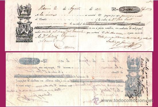 """1834.- LETRA 1ª DE CAMBIO, EMITIDA EN VALENCIA A PAGAR EN CUENCA POR """"1.388 REALES DE VELLON"""" (Coleccionismo - Documentos - Documentos Bancarios)"""