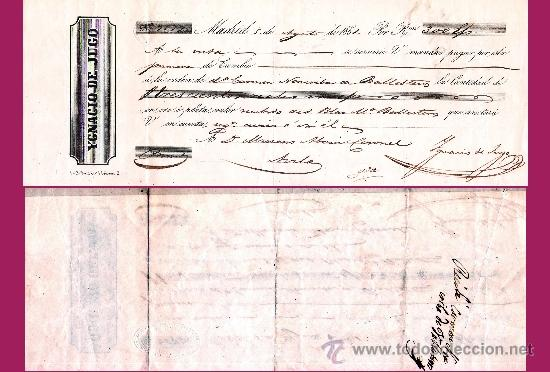 """1851. ISABEL II. LETRA 1ª DE CAMBIO, EMITIDA EN MADRID A PAGAR EN AVILA POR """"300 REALES DE VELLON"""" (Coleccionismo - Documentos - Documentos Bancarios)"""
