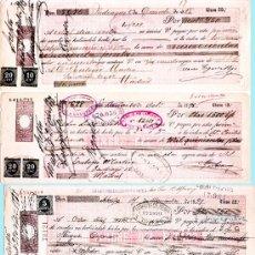 Documentos bancarios: 1898.-CONJUNTO DE 4 LETRAS A PAGAR EN MADRID, DISTINTAS CLASES. SUPLEMENTADAS CON IMPUESTO DE GUERRA. Lote 37257064