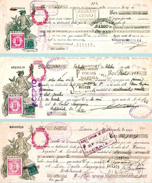 1940CONJUNTO CON 3 LETRAS DIFERENTES DE REPUBLICA CON SOBRECARGA ESTADO ESPAÑOL EN ROJO. (Coleccionismo - Documentos - Documentos Bancarios)