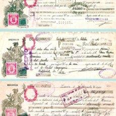 Documentos bancarios: 1940CONJUNTO CON 3 LETRAS DIFERENTES DE REPUBLICA CON SOBRECARGA ESTADO ESPAÑOL EN ROJO.. Lote 37258109