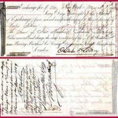 """Documentos bancarios: EE.UU. 1859.- LETRA 2ª DE CAMBIO EMITIDA EN N. YORK A PAGAR EN LONDRES POR """"500 LIBRAS"""". Lote 37264446"""