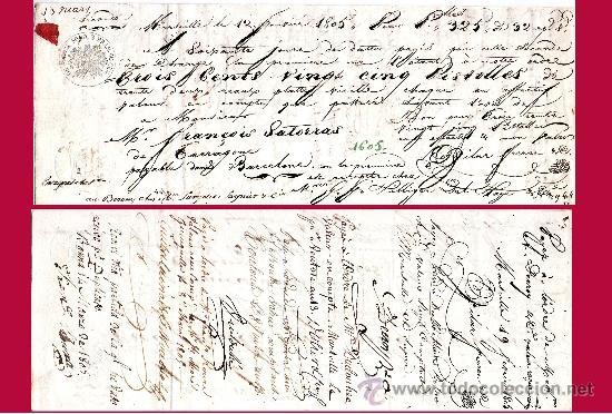 FRANCIA 1805.- LETRA 2ª DE CAMBIO EMITIDA EN MARSELLA A PAGAR EN BARCELONA POR