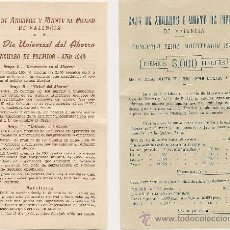 Documentos bancarios: CAJA DE AHORROS VALENCIA 1949 - FOLLETOS ANTIGUOS - DIA DEL AHORRO. Lote 37302859