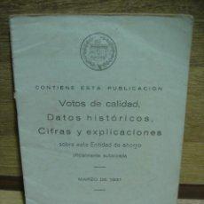 Documentos bancarios: BOLETIN DE 1931 DE LA ENTIDAD LOS PREVISORES DEL PORVENIR, ACTUAL BANCO POPULAR ESPAÑOL. Lote 37390149