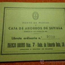 Documentos bancarios: MONTE PIEDAD Y CAJA DE AHORROS DE SEVILLA LIBRETA ORDINARIA 1972 . Lote 37483764