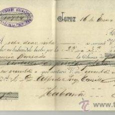 Documentos bancarios: LETRA DE CAMBIO. LIBRADOR: GUTIERREZ HERMANOS . LIBRADO: ALFREDO PÉREZ CARILLO. JEREZ. CÁDIZ. 1904. Lote 38034066