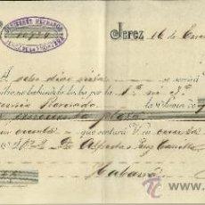 Documentos bancarios: LETRA DE CAMBIO. LIBRADOR: GUTIERREZ HERMANOS . LIBRADO: ALFREDO PÉREZ CARILLO. JEREZ. CÁDIZ. 1904. Lote 38034093