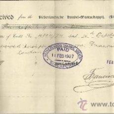 Documentos bancarios: LIQUIDACIÓN DE LETRA DE CAMBIO EMITIDA POR FRANCISCO OVIEDO. PARÍS. FRANCIA. 1906. Lote 38036479