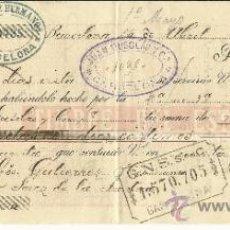 Documentos bancarios: LETRA DE CAMBIO. LIBRADOR: JUAN MUSOLAS Y Cª. LIBRADO: GUTIÉRREZ HERMANOS . BARCELONA. 1896. Lote 38090196