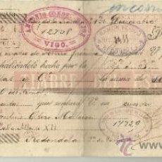 Documentos bancarios: LETRA DE CAMBIO. LIBRADOR: GUTIERREZ HERMANOS. LIBRADO:PAULINO OTERO MILLEIRO. JEREZ. CÁDIZ. 1895. Lote 38090791