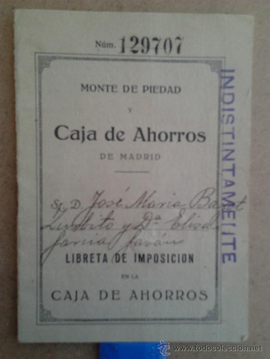 LIBRETA DE MONTE DE PIEDAD Y CAJA DE AHORROS DE MADRID EN 1929 (Coleccionismo - Documentos - Documentos Bancarios)