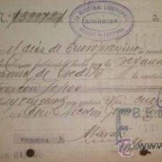 Documentos bancarios: ANTIGUA LETRA DE LA INDUSTRIAL LUBRIFICANTE CRIADO & LORENZO ZARAGOZA 1928. Lote 38310003