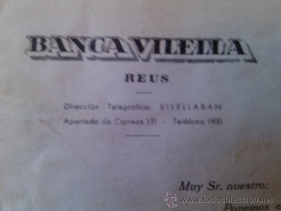 Documentos bancarios: LETRA DE CAMBIO SOBRE Y NOTIFICACION BANCA VILELLA REUS 1957 VILELLABAN - Foto 2 - 38531589