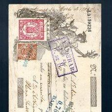 Documentos bancarios: LETRA DE CAMBIO 1908 CLASE 14 - 50 CTMOS - FISCAL MOVIL 10 CTMOS BLANES BARCELONA CALELLA. Lote 39038126
