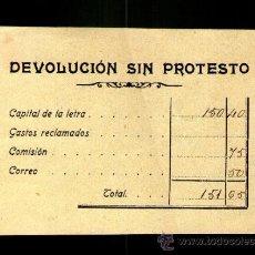 Documentos bancarios: DEVOLUCIÓN SIN PROTESTO DE LETRA DE CAMBIO - PRINCIPIOS SIGLO XX . Lote 39038420