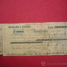 Documentos bancarios: 2 CHEQUES DE RUDOLPH & GEORGI. EIBENSTOCK (SAJONIA). POR 16.852 REALES DE VELLÓN. 1883. BARCELONA. Lote 39069517