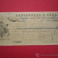 Documentos bancarios: CHEQUE DE BESSONNEAU & GENEST. DE 130 FRANCOS. 1883. A FAVOR DE ... BARCELONA.. Lote 39069730