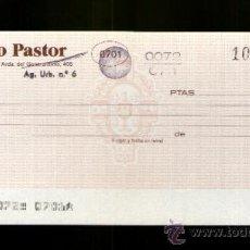 Documentos bancarios: BANCO PASTOR - TALÓN CHEQUE BANCARIO. Lote 39142267