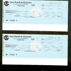 Documentos bancarios: CAJA RURAL GUISSONA PAREJA SERIE NUMERACIÓN CORRELATIVA - TALÓN CHEQUE COLECCIONISMO BANCARIO. Lote 39142666